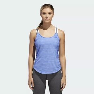 Adidas Women's blue cross back training tank top